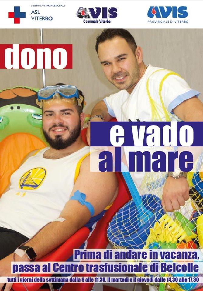 """Dono e vado al mare"""", al via la campagna estiva di sensibilizzazione promossa dalla Asl di Viterbo e dall'Avis"""