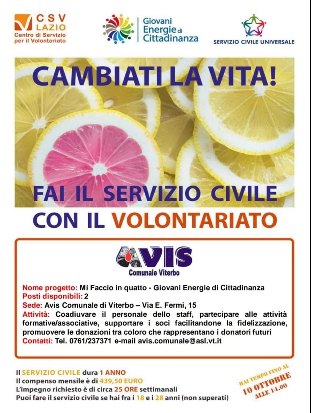 Fai il servizio civile con Avis Comunale di Viterbo codice sede 125718